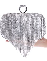 cheap -Women's Bags Polyester Evening Bag Buttons Crystal Detailing Tassel for Wedding Event/Party All Seasons Gold Black Silver