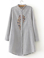 cheap -women's daily simple spring shirt v neck long sleeves acrylic