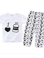 Недорогие -малыш Универсальные Набор одежды Повседневные Хлопок С принтом Весна Лето С короткими рукавами Простой Белый