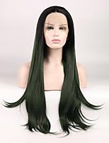 abordables -Perruque Lace Front Synthétique Ondulation Naturelle Coupe Dégradée Au Milieu Dégradé de Couleur Vert Noir Femme Dentelle frontale