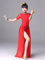 cheap -Belly Dance Dresses Training Polyester Pattern / Print Split Short Sleeves High Dress