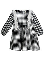 cheap -Girl's Daily Check Dress, Polyester Spring Summer Long Sleeves Simple Black