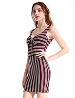 abordables -Femme Slim Moulante Robe - Noeud, Rayé Taille haute A Bretelles Mini