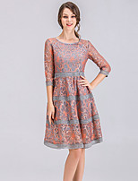 cheap -SHE IN SUN Women's Street chic A Line Swing Dress - Solid Colored Lace Basic