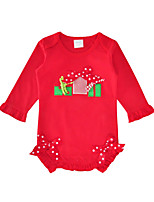 cheap -Baby Girls' Daily Holiday Print One-Pieces, Cotton Spring Fall Cute Half Sleeves Red