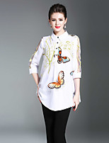 cheap -Women's Shirt - Solid Animal Print, Print Shirt Collar