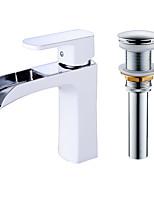 cheap -Contemporary Centerset Waterfall Ceramic Valve Single Handle One Hole Faucet Set