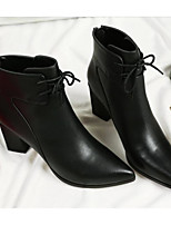 cheap -Women's Shoes Cowhide Fall Winter Fashion Boots Comfort Boots Chunky Heel Booties/Ankle Boots for Casual Black