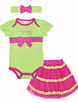 cheap -Baby Girls' Daily Holiday Print Clothing Set, Cotton Summer Cute Short Sleeves Green