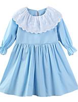 abordables -Robe Fille de Quotidien Sortie Imprimé Coton Polyester Printemps Eté Manches Longues Mignon Décontracté Bleu