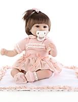 Недорогие -NPK DOLL Куклы реборн Девочки 16дюймовый Силикон / Винил - Естественный тон кожи, Головка дискеты, Гофрированные и запечатанные ногти