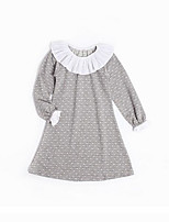 cheap -Girl's Daily Polka Dot Dress, Cotton Spring Summer Long Sleeves Simple Gray