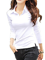 cheap -Women's Active Basic Cotton Slim T-shirt - Solid Colored Shirt Collar
