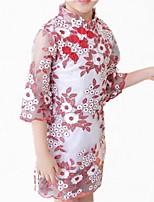baratos -Menina de Vestido Diário Floral Primavera Outono Algodão Poliéster Manga Longa Simples Fofo Vermelho Lavanda