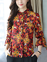 cheap -Women's Work Flare Sleeve Slim Blouse - Floral, Bow Stand