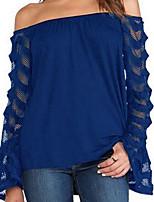 cheap -Women's Lantern Sleeve Blouse Lace Boat Neck