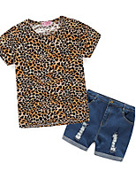 cheap -Girls' Daily Sports Leopard Clothing Set, Cotton Polyester Spring Summer Short Sleeves Cute Active Beige