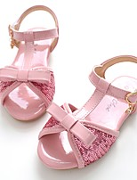 cheap -Girls' Shoes Patent Leather Summer Flower Girl Shoes Slingback Sandals Magic Tape for Casual Dress Pink Khaki