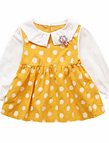 cheap -Girl's Daily Polka Dot Dress, Polyester Spring Long Sleeves Simple Blushing Pink Yellow Khaki