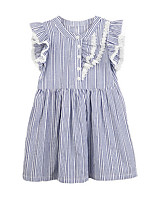 cheap -Girl's Daily Solid Dress, Cotton Summer Short Sleeves Simple Blue