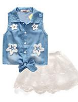 cheap -Girls' Daily Print Clothing Set, Cotton Polyester Summer Sleeveless Cute Active Light Blue