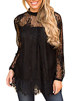 baratos -Mulheres Blusa Básico Renda,Sólido