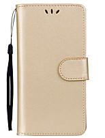 Недорогие -Кейс для Назначение Huawei P8 Lite Бумажник для карт / со стендом / Флип Чехол Однотонный Твердый Кожа PU для Huawei P8 Lite