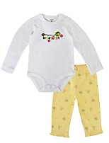 cheap -Baby Unisex Daily Holiday Floral Clothing Set, Cotton Spring Fall Casual Long Sleeves Yellow