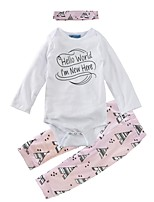 cheap -Girls' Daily Holiday Print Clothing Set, Cotton Spring Fall Long Sleeves Cute Blushing Pink