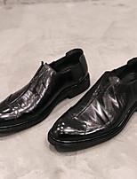 Недорогие -Муж. обувь Кожа Весна Осень Удобная обувь Мокасины и Свитер для Повседневные Черный Вино
