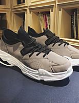 Недорогие -Муж. обувь Свиная кожа Весна Осень Удобная обувь Кеды для Повседневные на открытом воздухе Черный Серый