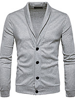 cheap -Men's Long Cardigan - Solid Colored Shirt Collar