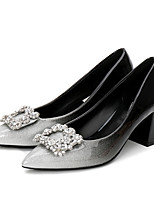 cheap -Women's Shoes Patent Leather Spring Fall Basic Pump Heels Chunky Heel Pointed Toe Rhinestone for Casual Black/Silver Black/Red