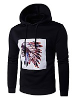 cheap -Men's Plus Size Sports Active Long Sleeves Loose Hoodie - Solid Colored Hooded
