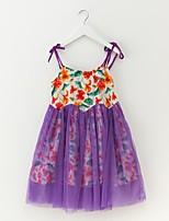 Недорогие -Девичий Платье Цветочный принт Лето Простой Цвет радуги