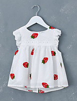 cheap -Girl's Daily Holiday Solid Print Dress, Cotton Summer Sleeveless Simple Active White Red Wine