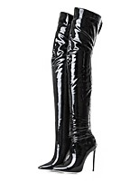 cheap -Women's Shoes Patent Leather Fall Winter Fashion Boots Boots Stiletto Heel Pointed Toe Thigh-high Boots for Wedding Party & Evening Black