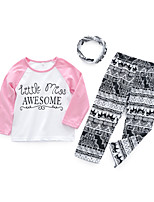 cheap -Girls' Daily Color Block Clothing Set, Cotton Spring Long Sleeves Casual White