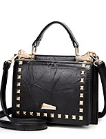 cheap -Women's Bags PU Shoulder Bag Rivet for Shopping Red / Drak Red / Brown
