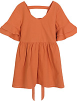 cheap -Girl's Daily Solid Dress, Cotton Spring Half Sleeves Simple Cute Orange