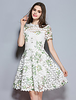 cheap -SHIHUATANG Women's Cute Street chic A Line Dress - Floral, Lace