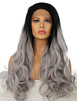 cheap -Synthetic Lace Front Wig Wavy Ombre Hair Gray Women's Lace Front Natural Wigs Long Synthetic Hair