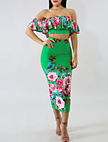 cheap -Women's Short Set - Floral, Ruffle Split Print High Waist Skirt Strapless