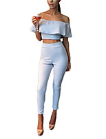 cheap -Women's Basic Set - Solid Colored, Backless Pant