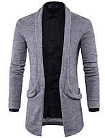 cheap -Men's Simple Long Sleeves Long Cardigan - Solid Color, Print Shirt Collar