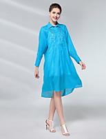 cheap -PROVERB Women's Casual Basic Loose Dress - Solid Colored High Waist Shirt Collar