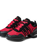 cheap -Women's Dance Sneakers Tulle Canvas Sneaker Outdoor Splicing Low Heel Red 1 - 1 3/4 Customizable