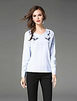 preiswerte -Damen Solide Hemd, V-Ausschnitt Bestickt