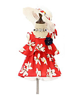 cheap -Girls' Daily Holiday Solid Colored Floral Clothing Set, Cotton Polyester Summer Sleeveless Cute Basic Red