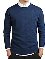 cheap -Men's Long Pullover - Solid Colored Round Neck